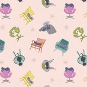 Lewis & Irene - Poodle & Doodle - 6370 - Pink, Scattered Cats on Chairs - A364.1 - Cotton Fabric